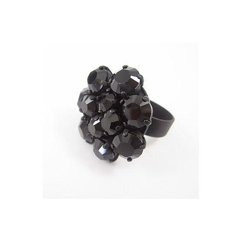 [アビステ]ABISTE フラワークリスタルリング ブラック6000104- B