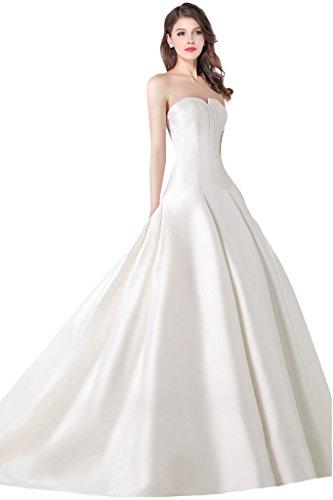 Manborunt Women s Simple Satin Sweep Train Princess Wedding Dress  CheapW160£¨White bec271faf9