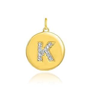 """14k Gold Letter """"K"""" Initial Diamond Disc Pendant"""