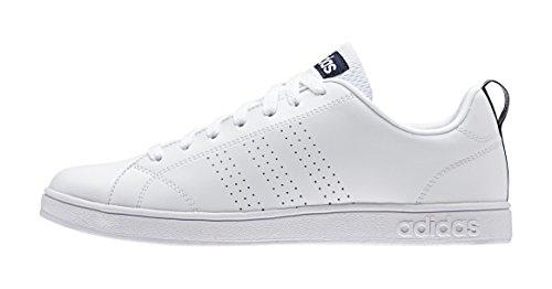 Adidas Advantage Clean Vs, Scarpe da Ginnastica Basse Uomo, Bianco (Ftwr White/Ftwr White/Collegiate Navy), 42 EU