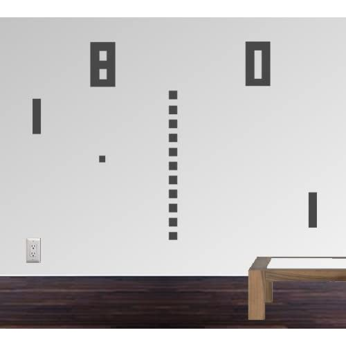 StikEez Grey Large Ping Pong Retro Table Tennis 8 bit Fun Wall Decal