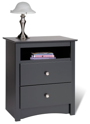 Read About Prepac Sonoma Tall 2-Drawer Nightstand, Black