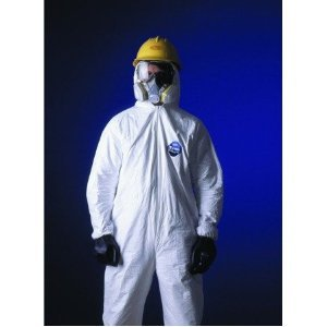 DuPont TY122S Disposable Elastic Wrist, Bootie & Hood White Tyvek Coverall Suit 1414, Size XLarge, Sold by the Each