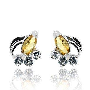Natural Gem luxury Citrine 925 Sterling Silver Earring stud Gift 012