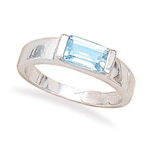 Sterling Silver Emerald Cut Blue Topaz Ring / Size 7