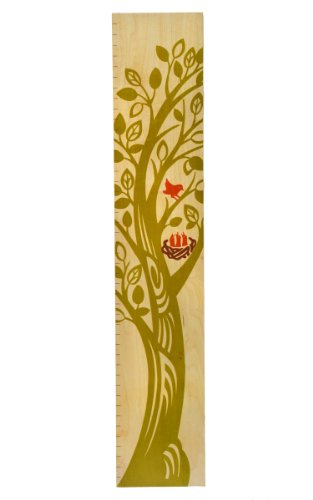 The Growing Tree Collection - Kids Wall Hanging Wooden Growth Chart - Children'S Height Chart For Boys And Girls (Spring Green) front-943958