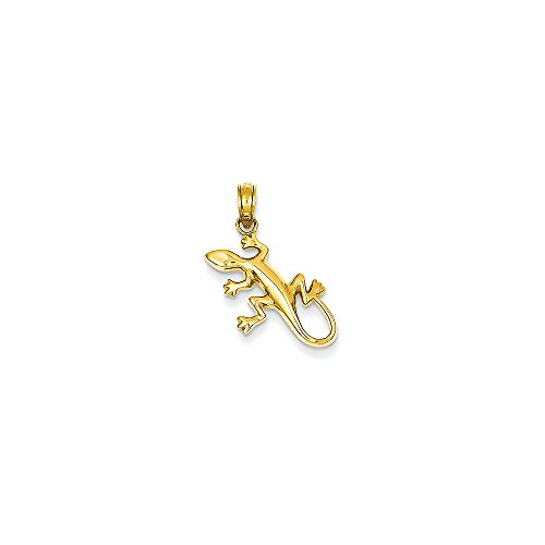 14k Yellow Gold Polished Gecko Pendant (15x17 mm)