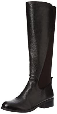 Nine West Women's Partay Riding Boot,Black/Black Leather,8.5 M US