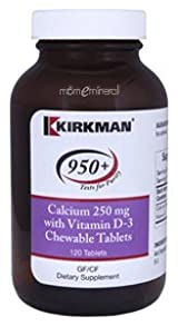 Calcium with Vit D-3 250 mg 120 Chewables by Kirkman Labs