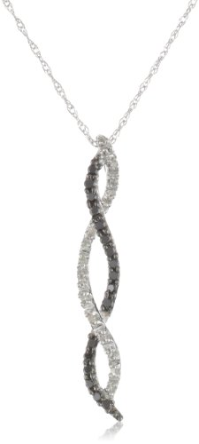14k White Gold Diamond Twist Pendant Necklace (1/6 cttw, H-I Color, I1-I2 Clarity), 18&quot;