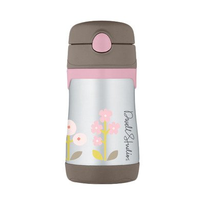 Dwellstudio For Thermos, Vacuum Insulated Stainless Steel Straw Bottle, Rosette, 10 Ounce front-391476
