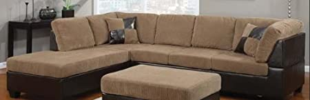 Connell Light Brown Bycast Leather Sofa Set 55945-KIT