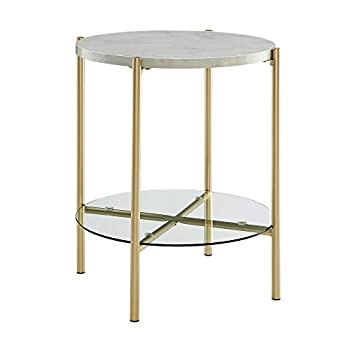 "WE Furniture AZF20SRDSTMGD Side Table, 20"", Faux White Marble/Gold"
