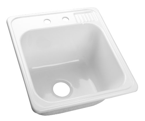 Lyons Industries DLT01 White Acrylic Self-Rimming Laundry Tub, 22-Inch by 20-Inch with Extra Deep, 12-Inch Sink