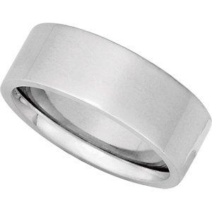Platinum Flat Comfort Fit Wedding Band - Size 10: 7 mm