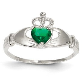 Genuine IceCarats Designer Jewelry Gift 14K White Gold Cz May Birthstone Claddagh Heart Ring Size 7.50