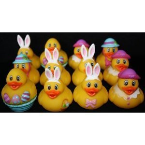 "12 Easter Rubber Ducks / Duckies 2"" New"