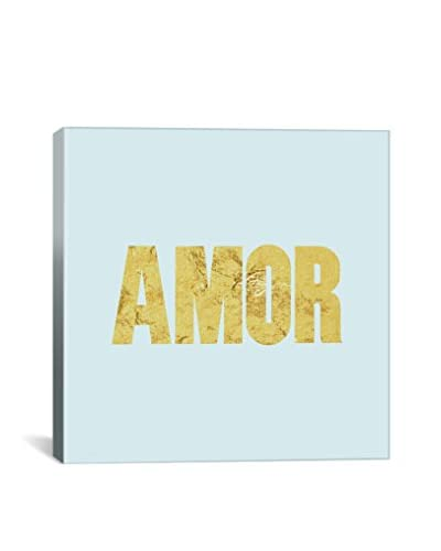 Love International Amor Yellow On Light Blue Gallery Wrapped Canvas Print