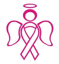 RIBBON ANGEL decal sticker support breast cancer, Pink