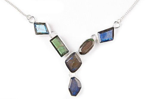 Scrunchh Sterling Silver Necklace With Polygonal Labradorite Stones, 18.5