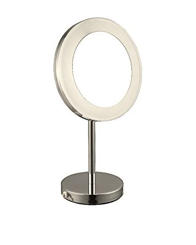 Nameek's Glimmer Free Standing Lighted 3X Makeup Mirror, Satin Nickel
