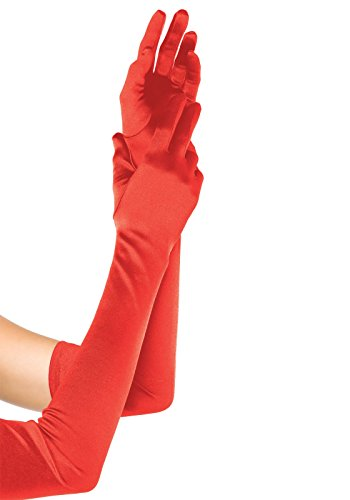 Leg Avenue Women's Long Satin Gloves, Red, One Size