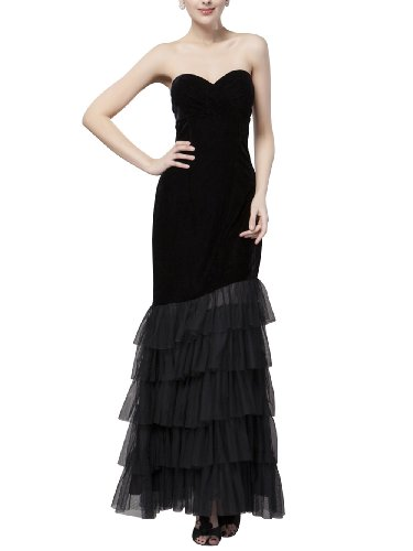 B-FY Womens Sexy Black Sweetheart Maxi Dance Party layered Skirt Dress