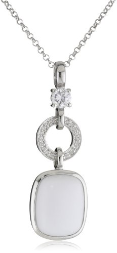 Giorgio Martello Sterling Silver White Agate and Cubic-Zirconia Necklace
