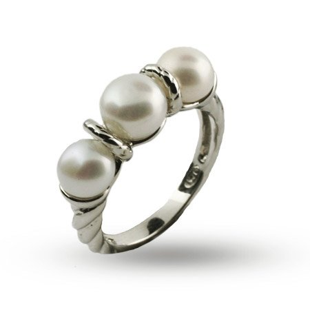 Triple Freshwater Pearl Sterling Silver Cable Ring Size 7 (Sizes 5 6 7 8 9 Available)