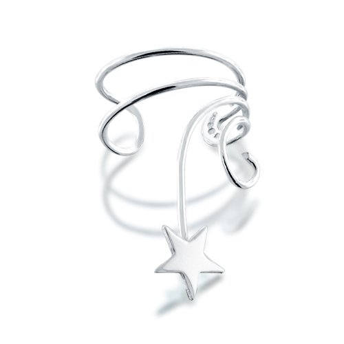 Bling Jewelry Ear Cuff Right Ear Star Wave 925 Sterling Silver