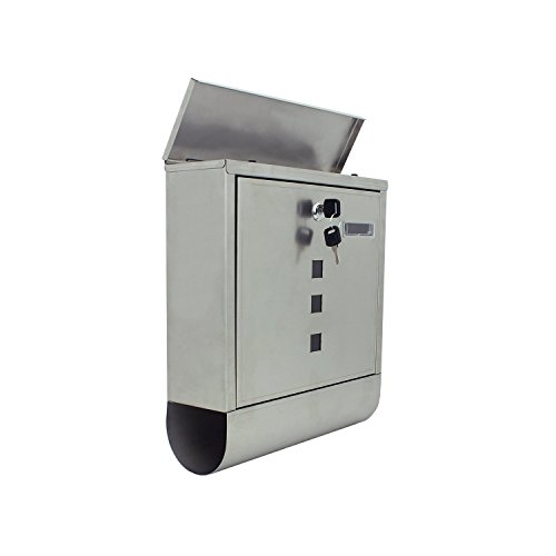 ALEKO-SMB-03-Wall-Mounted-Mail-Box-with-Retrieval-Door-2-Keys-Newspaper-Compartment