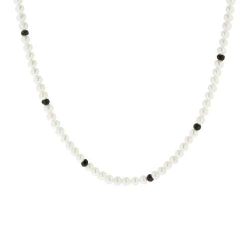 Faceted Black Onyx Rondelle White Freshwater Cultured Pearl Endless Necklace, 100