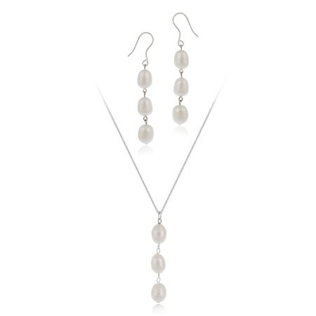Sterling Silver Baroque Freshwater Cultured White Pearl Drop Earrings and Pendant Set