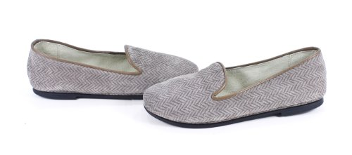 Rev French Sole Drama Taupe Herringbone Velvet Flats