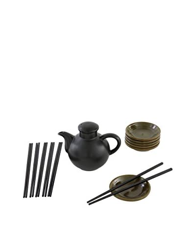D&V Black Stoneware Soy Sauce Dipping & Serving Set, Green/Black