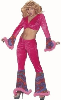Women's Pink 70s Disco Lady Adult Costume (Size: Medium 10-12)