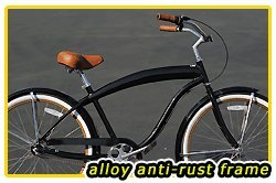 Aluminum frame, Fito Modena EX Alloy Shimano 3-speed men's Black/Bronze Beach Cruiser Bike Bicycle Micargi Firmstrong Schwinn Style