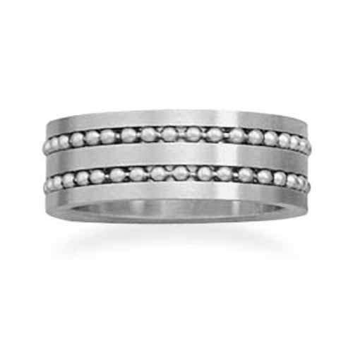 Stainless steel ring with double row of beads. This ring is available in sizes 8 - 13.