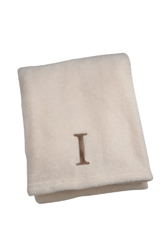 NoJo Ivory Embroidered Blanket, Letter I
