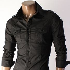 New Luxury Mens Casual Slim fit Dress Shirts Black Medium