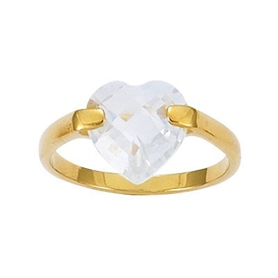 18K Gold Plated Clear Cubic Zirconia Facet Heart Band Ring - Size 10
