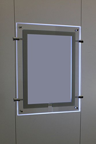 "8.5"" X 11"" Document Or Sign Frames, Led Edge Lit, 3 Clear Frame Panels, Hangs From Ceiling To Floor"