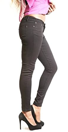 Touch Me Women's Skinny Colored Denim Pants Black 5/6