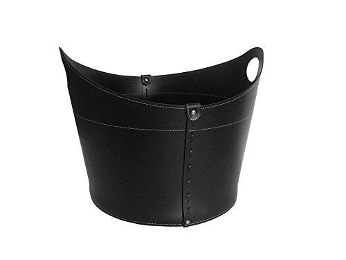 CADIN: borsa in cuoio portalegna e/o pellet, in cuoio rigenerato colore Nero, con ruote gommate.