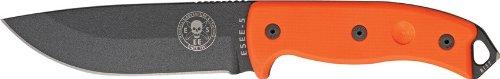 Esee 5Por Black Powder Coated Fixed Blade Knife W/ Bright Orange G-10 Handle