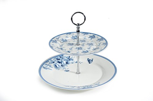 sc 1 st  Silver Cutlery Sets & 2 Tier Blue Rose Bone China Cake Stand with Chrome Stand