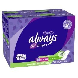 Always Dri-Liners Pantiliners- Unscented- Long (160 Count)