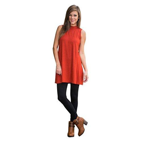 Wensltd Clearance! Orange Women Sleeveless Vest Dress (L)