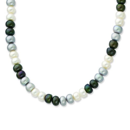 Silver 6-7mm FW Cult. Pearl 18Black/White/Grey Necklace
