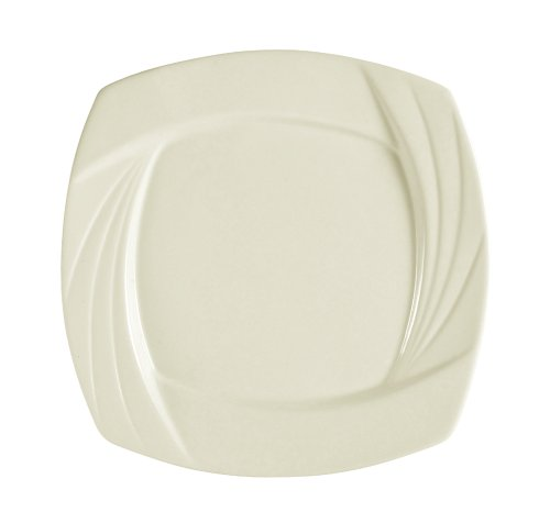 CAC China GAD-SQ21 12-Inch Garden State Porcelain Square Plate, White, Box of 12